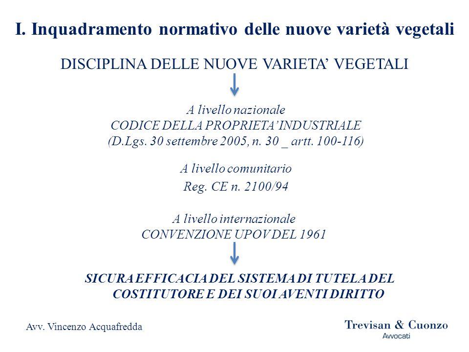 I. Inquadramento normativo delle nuove varietà vegetali