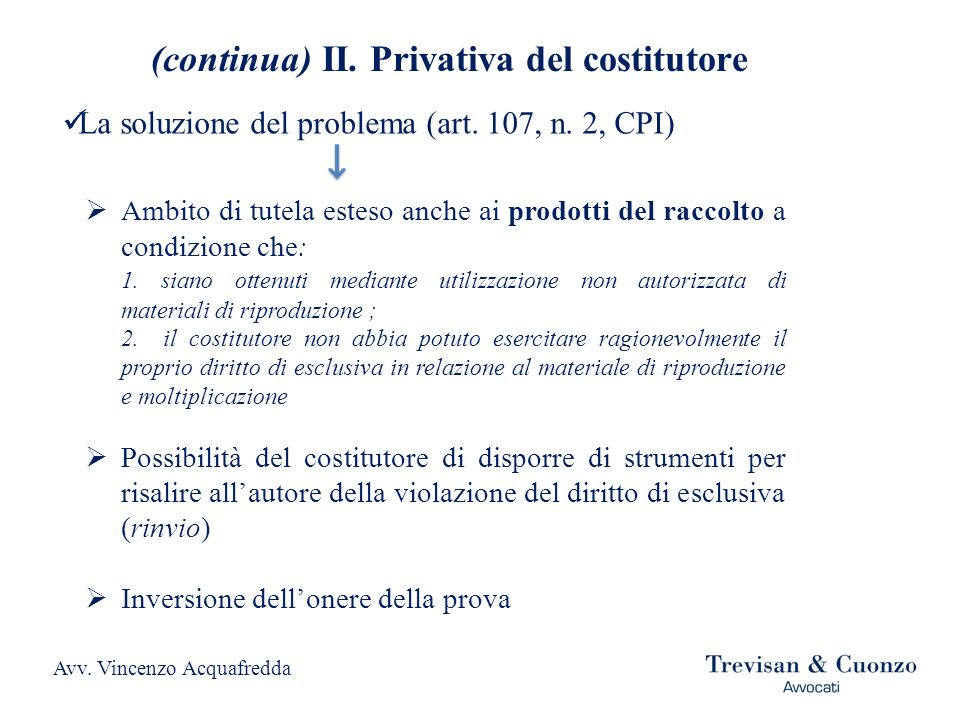 (continua) II. Privativa del costitutore