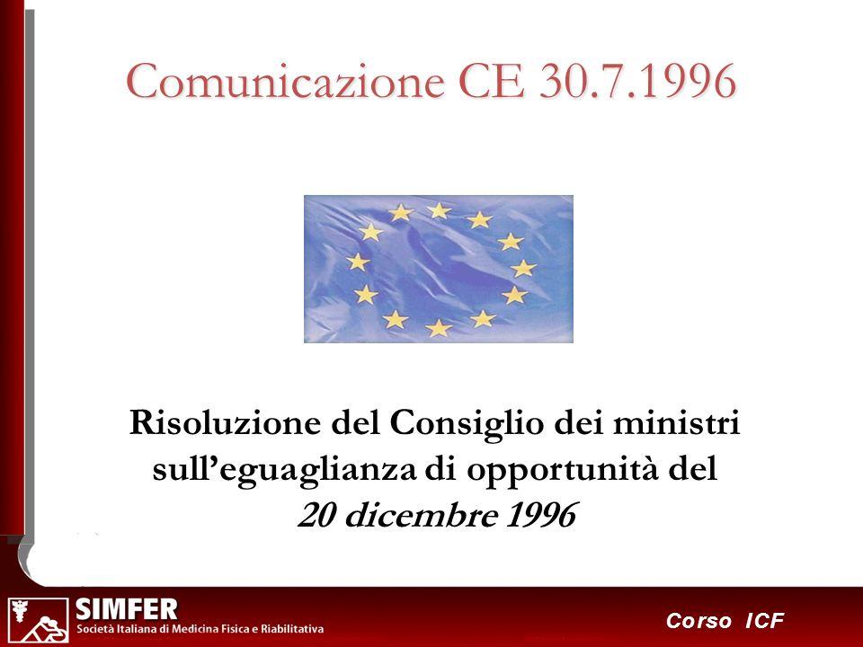 Comunicazione CE 30.7.1996 Risoluzione del Consiglio dei ministri sull'eguaglianza di opportunità del 20 dicembre 1996.