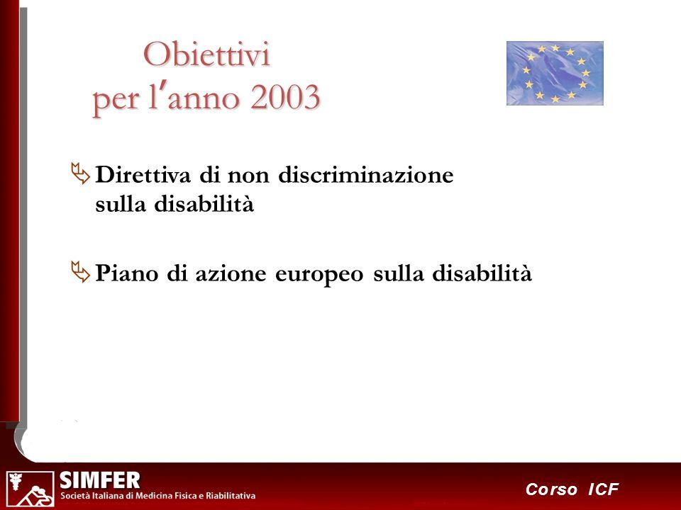 Obiettivi per l'anno 2003 Direttiva di non discriminazione sulla disabilità.