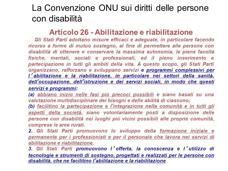 Articolo 26 - Abilitazione e riabilitazione