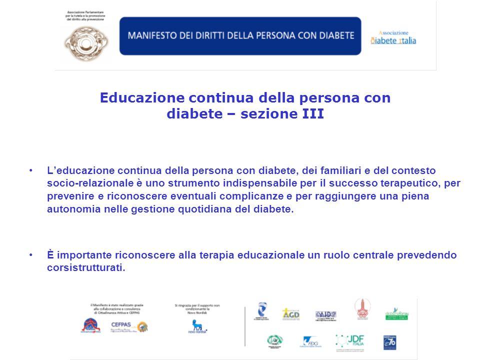 Educazione continua della persona con diabete – sezione III