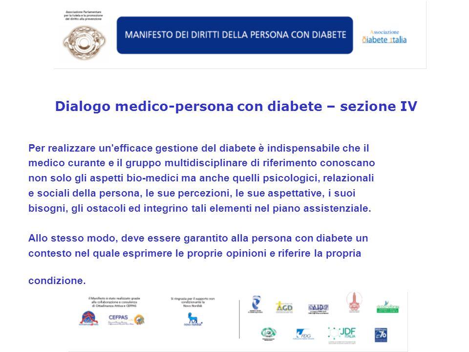 Dialogo medico-persona con diabete – sezione IV