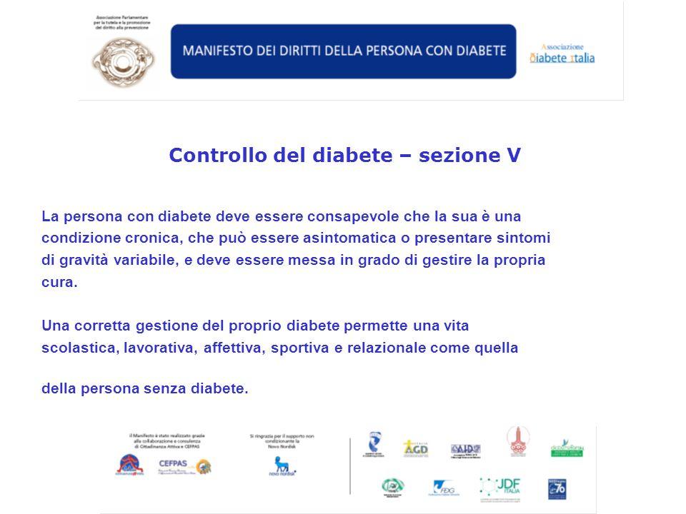Controllo del diabete – sezione V