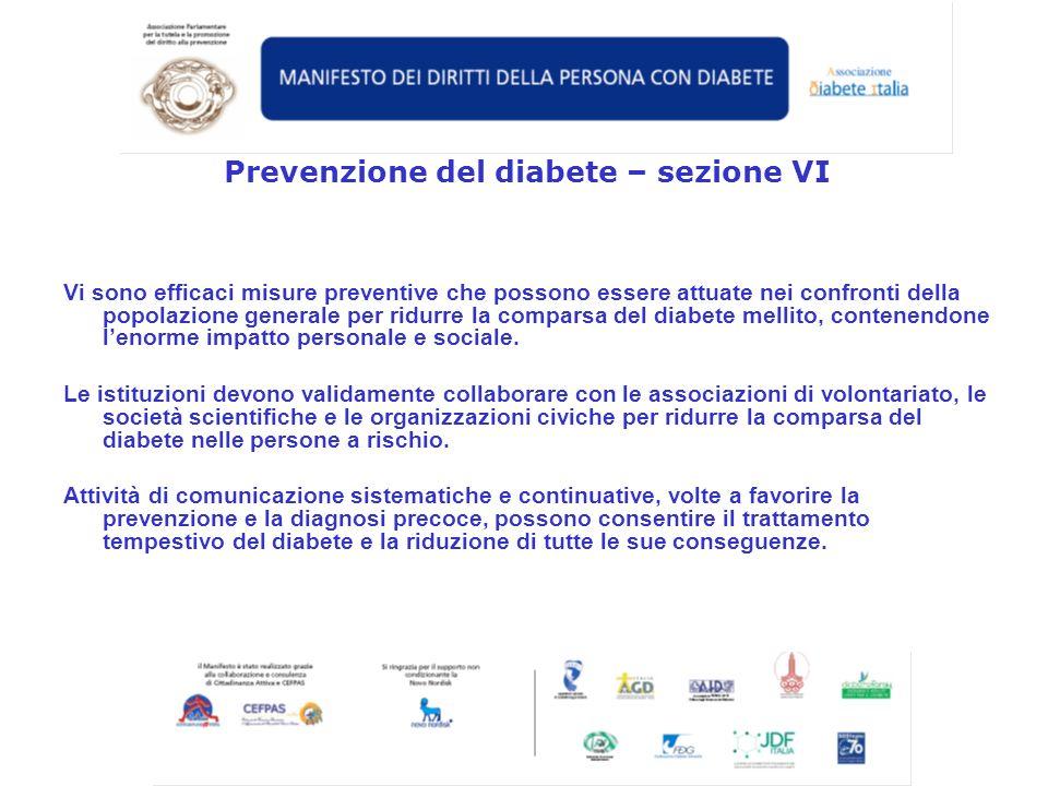 Prevenzione del diabete – sezione VI