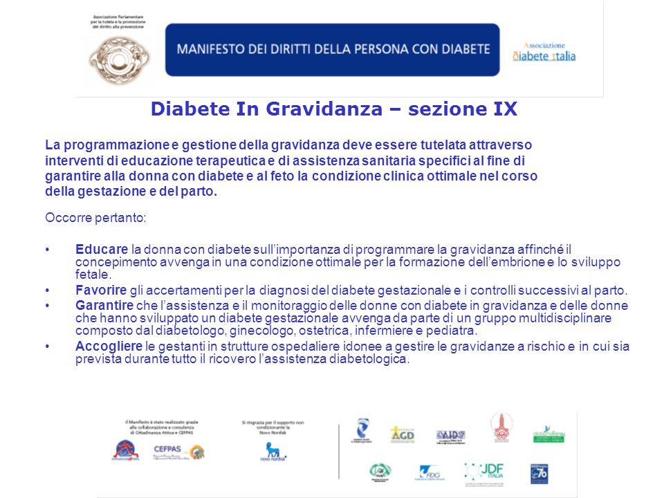 Diabete In Gravidanza – sezione IX