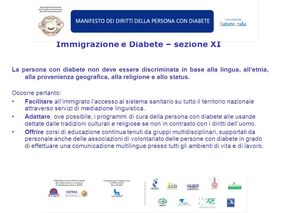 Immigrazione e Diabete – sezione XI