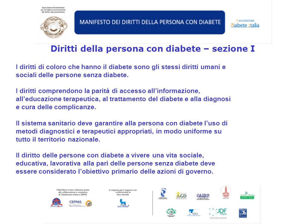 Diritti della persona con diabete – sezione I