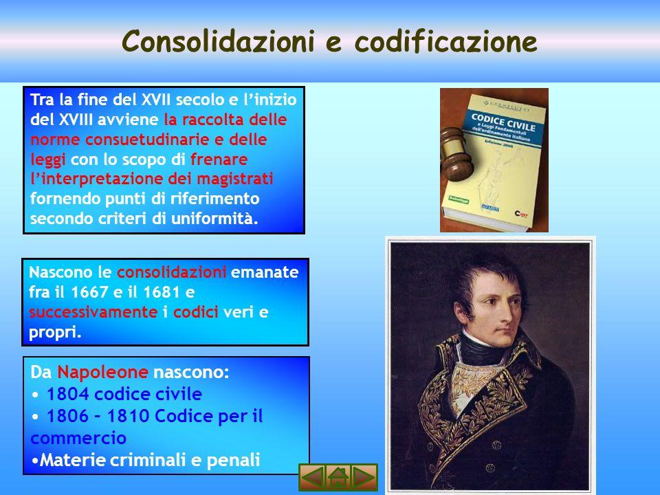 Consolidazioni e codificazione