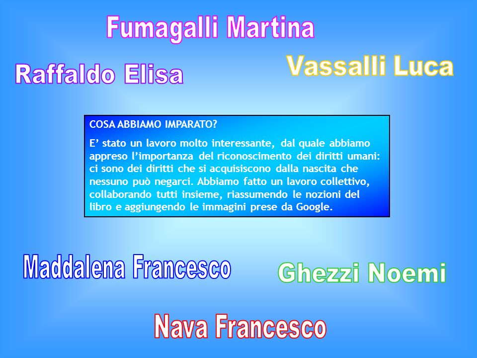 Fumagalli Martina Vassalli Luca Raffaldo Elisa Maddalena Francesco