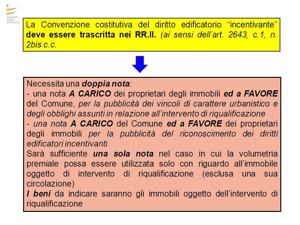 La Convenzione costitutiva del diritto edificatorio incentivante deve essere trascritta nei RR.II. (ai sensi dell'art. 2643, c.1, n. 2bis c.c.