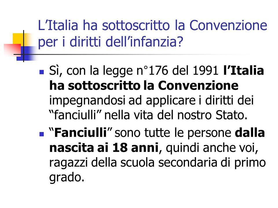 L'Italia ha sottoscritto la Convenzione per i diritti dell'infanzia
