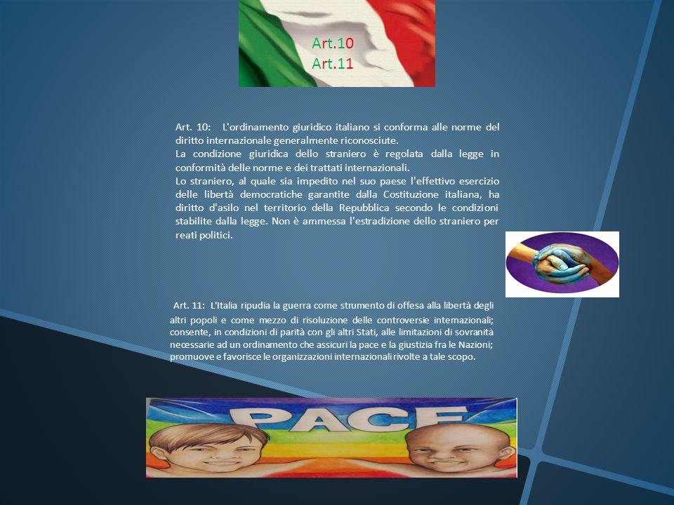 Art.10 Art.11. Art. 10: L ordinamento giuridico italiano si conforma alle norme del diritto internazionale generalmente riconosciute.