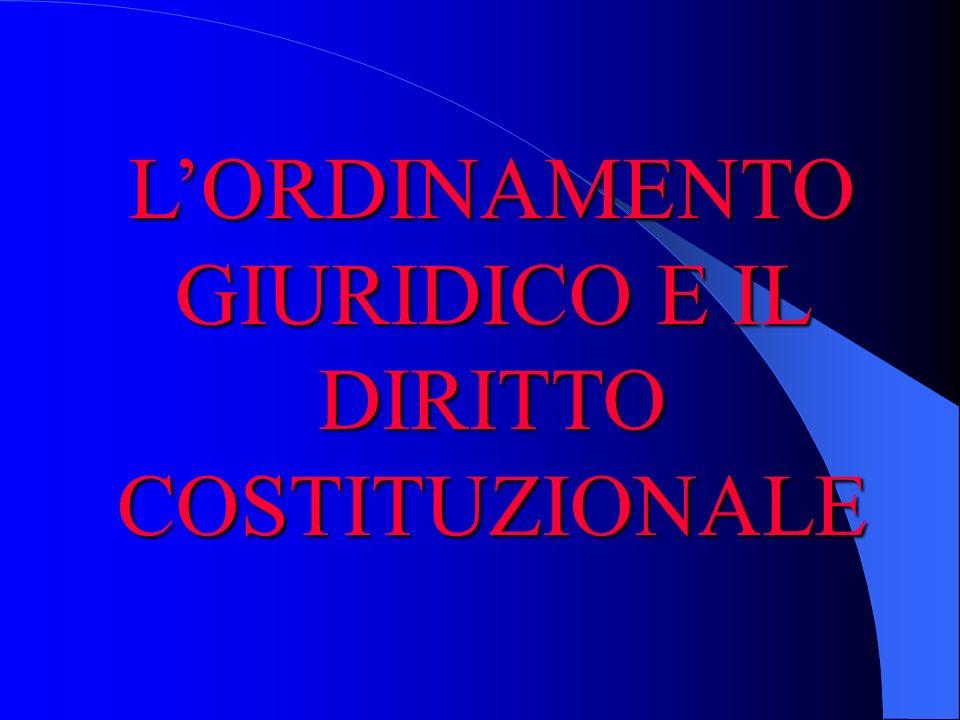 L'ORDINAMENTO GIURIDICO E IL DIRITTO COSTITUZIONALE