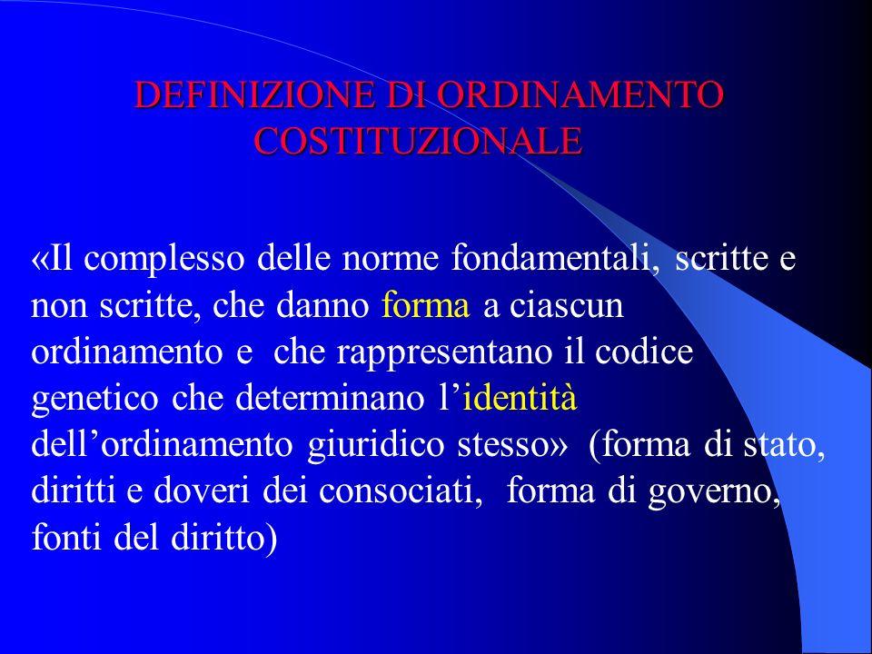 DEFINIZIONE DI ORDINAMENTO COSTITUZIONALE