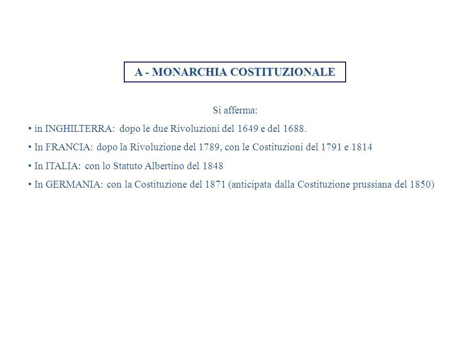 A - MONARCHIA COSTITUZIONALE