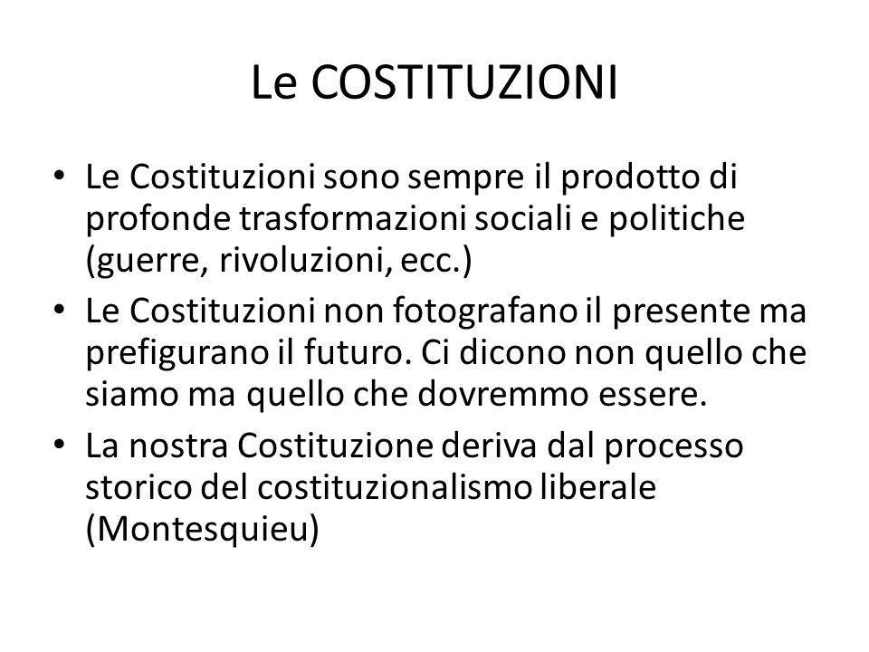 Le COSTITUZIONI Le Costituzioni sono sempre il prodotto di profonde trasformazioni sociali e politiche (guerre, rivoluzioni, ecc.)