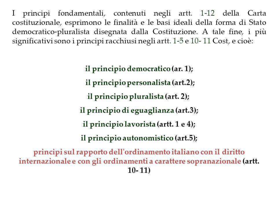il principio democratico (ar. 1); il principio personalista (art.2);