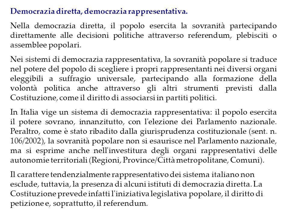 Democrazia diretta, democrazia rappresentativa.