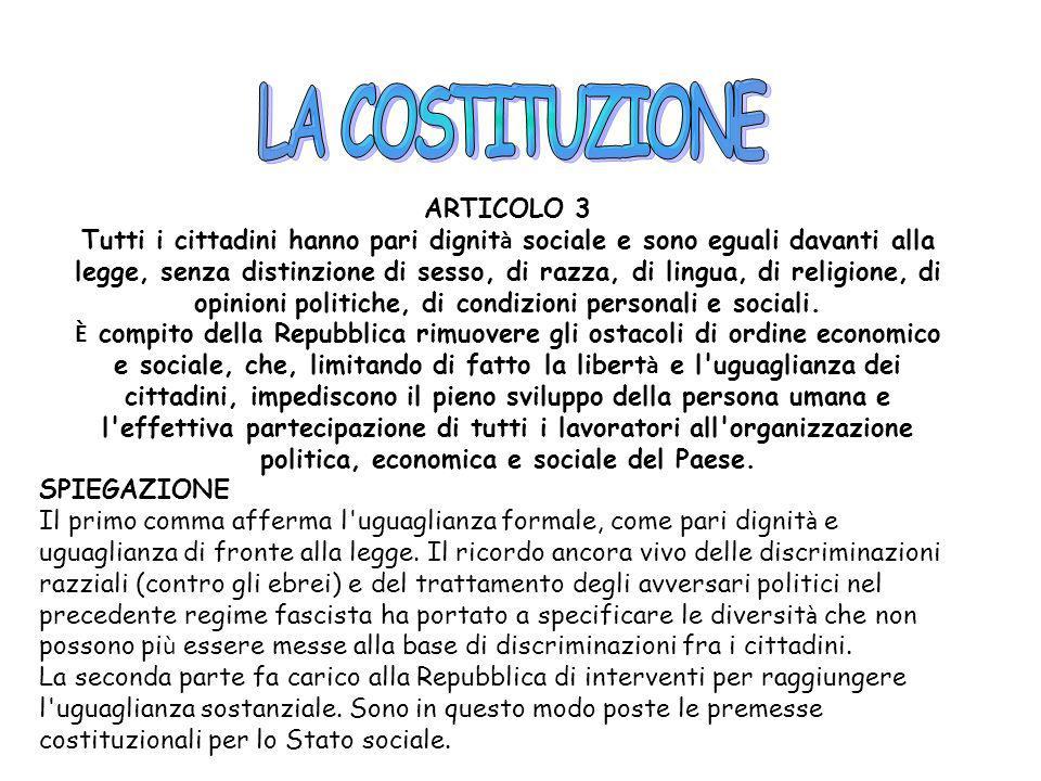 LA COSTITUZIONE ARTICOLO 3