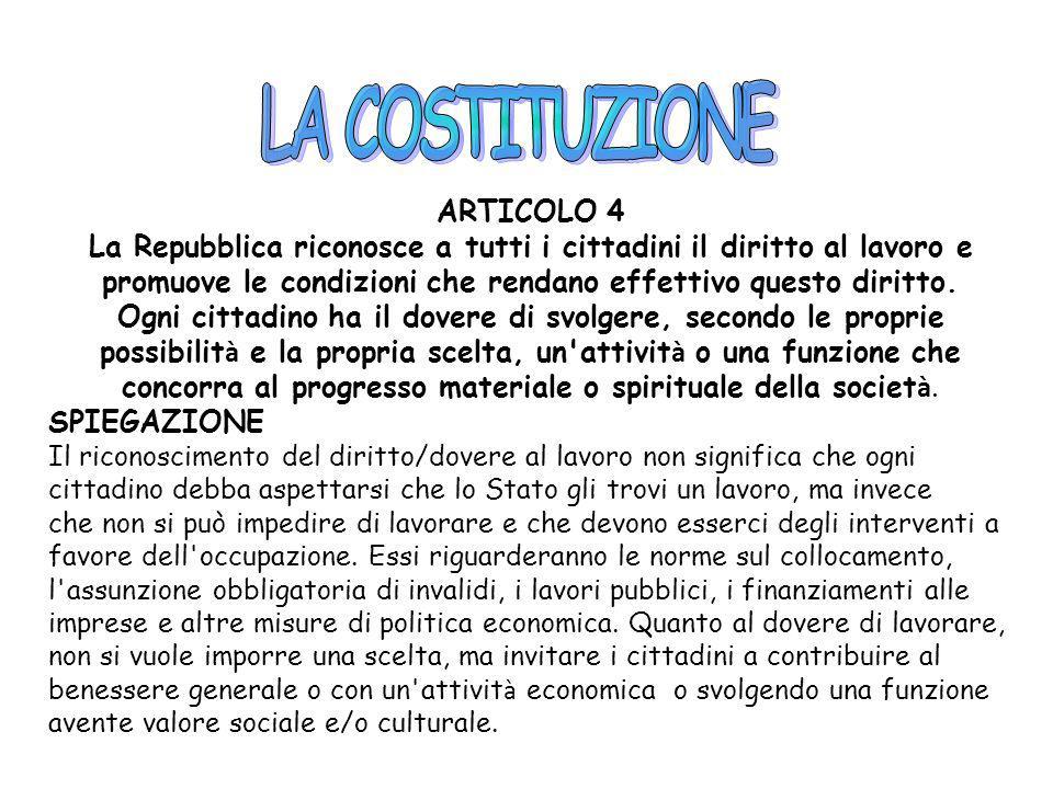 LA COSTITUZIONE ARTICOLO 4