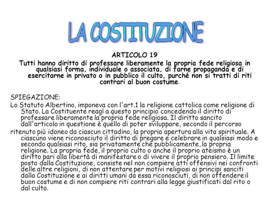LA COSTITUZIONE ARTICOLO 19