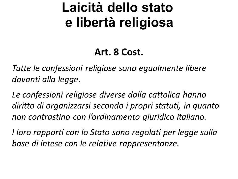 Laicità dello stato e libertà religiosa