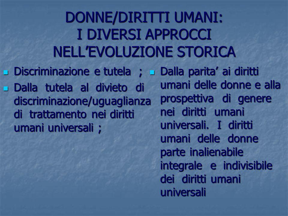 DONNE/DIRITTI UMANI: I DIVERSI APPROCCI NELL'EVOLUZIONE STORICA