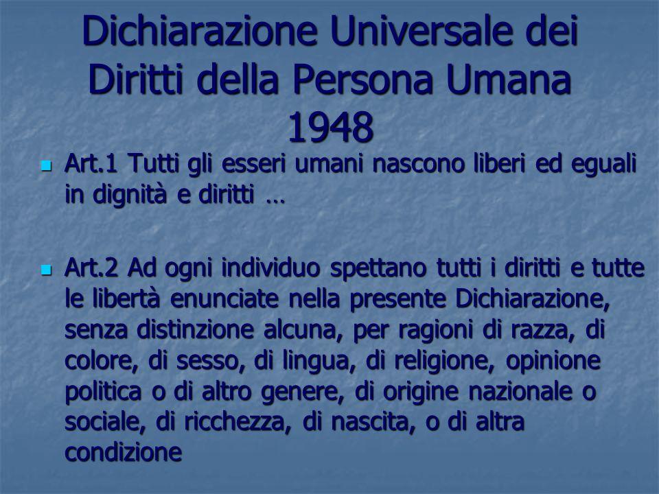 Dichiarazione Universale dei Diritti della Persona Umana 1948