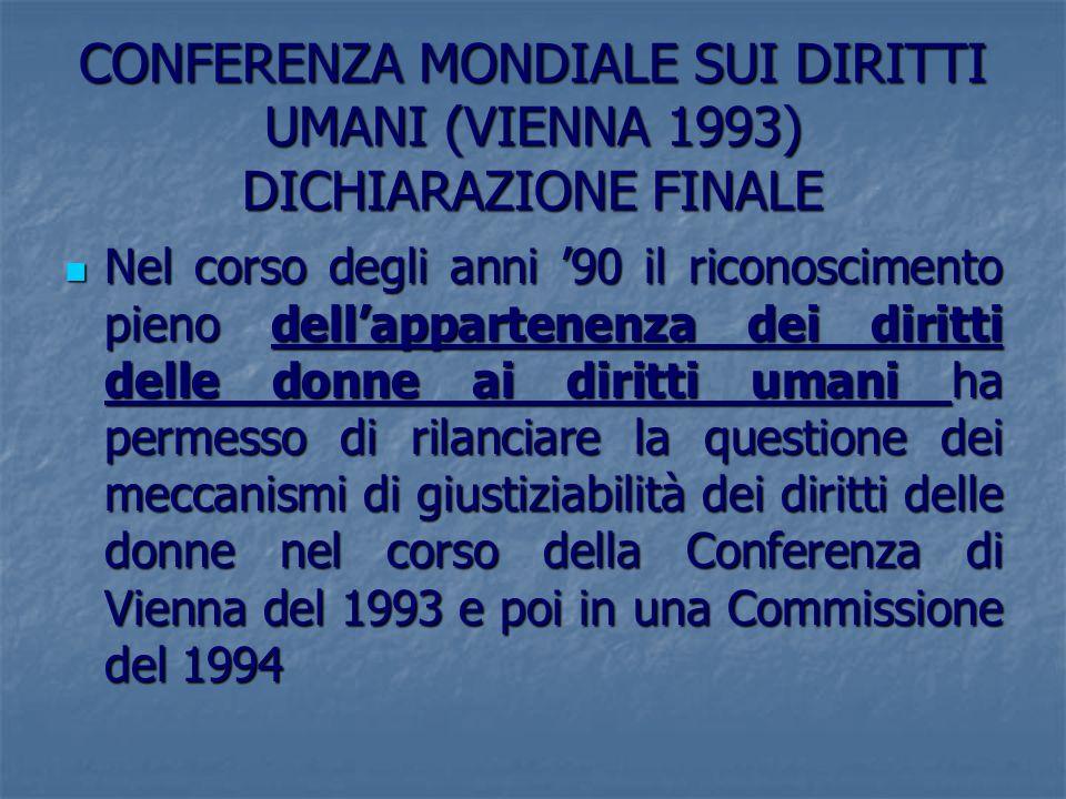 CONFERENZA MONDIALE SUI DIRITTI UMANI (VIENNA 1993) DICHIARAZIONE FINALE