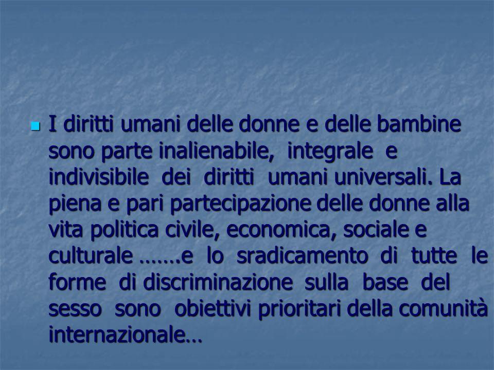 I diritti umani delle donne e delle bambine sono parte inalienabile, integrale e indivisibile dei diritti umani universali.