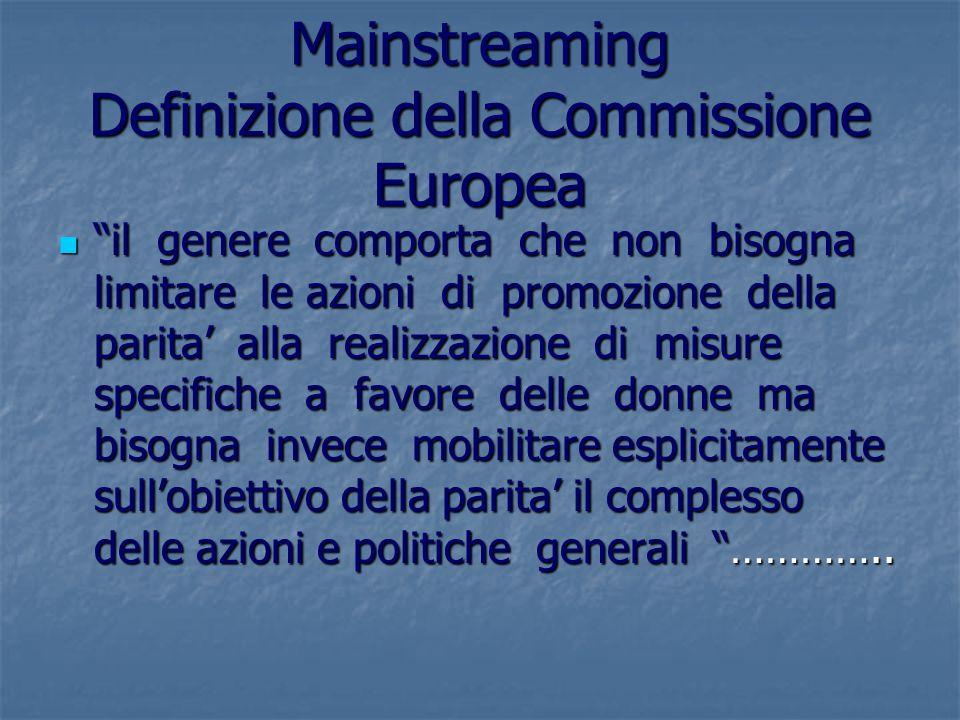 Mainstreaming Definizione della Commissione Europea