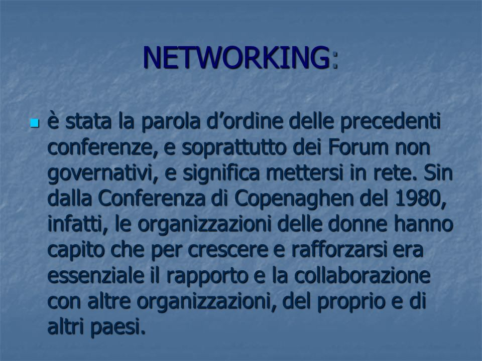 NETWORKING: