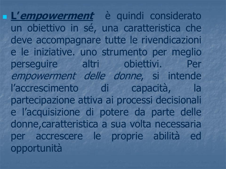 L'empowerment è quindi considerato un obiettivo in sé, una caratteristica che deve accompagnare tutte le rivendicazioni e le iniziative.