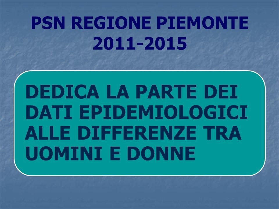 PSN REGIONE PIEMONTE 2011-2015 DEDICA LA PARTE DEI DATI EPIDEMIOLOGICI ALLE DIFFERENZE TRA UOMINI E DONNE.