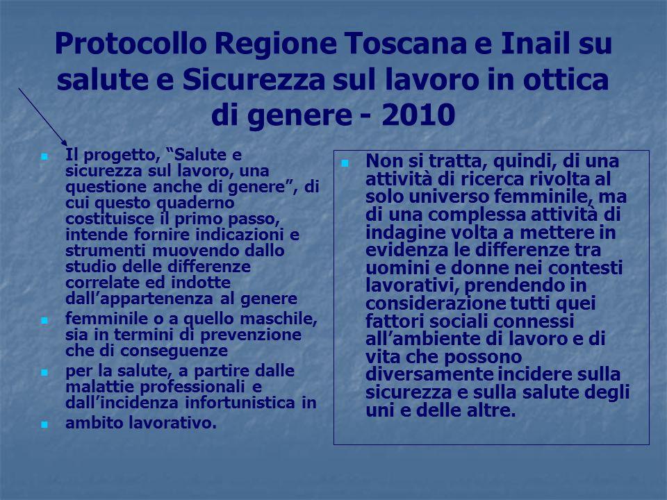 Protocollo Regione Toscana e Inail su salute e Sicurezza sul lavoro in ottica di genere - 2010