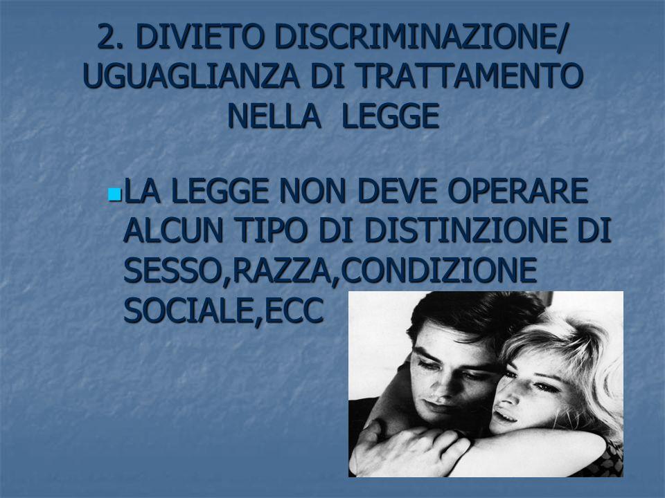 2. DIVIETO DISCRIMINAZIONE/ UGUAGLIANZA DI TRATTAMENTO NELLA LEGGE