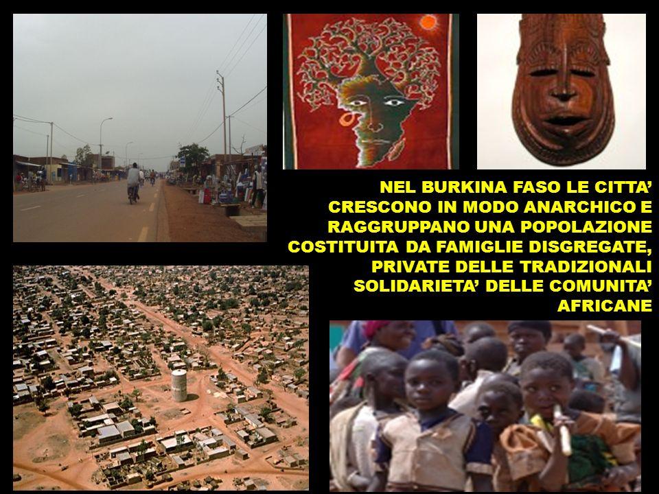 NEL BURKINA FASO LE CITTA' CRESCONO IN MODO ANARCHICO E RAGGRUPPANO UNA POPOLAZIONE COSTITUITA DA FAMIGLIE DISGREGATE, PRIVATE DELLE TRADIZIONALI SOLIDARIETA' DELLE COMUNITA' AFRICANE