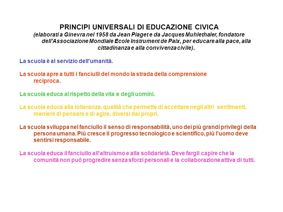 PRINCIPI UNIVERSALI DI EDUCAZIONE CIVICA