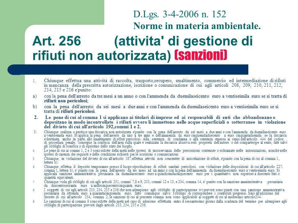 Art. 256 (attivita di gestione di rifiuti non autorizzata) (sanzioni)