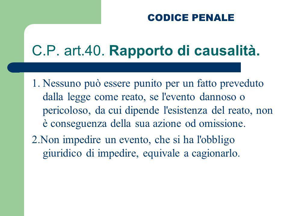 C.P. art.40. Rapporto di causalità.