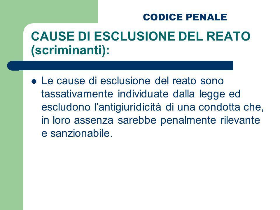 CAUSE DI ESCLUSIONE DEL REATO (scriminanti):
