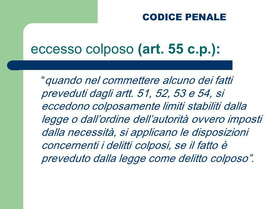 eccesso colposo (art. 55 c.p.):