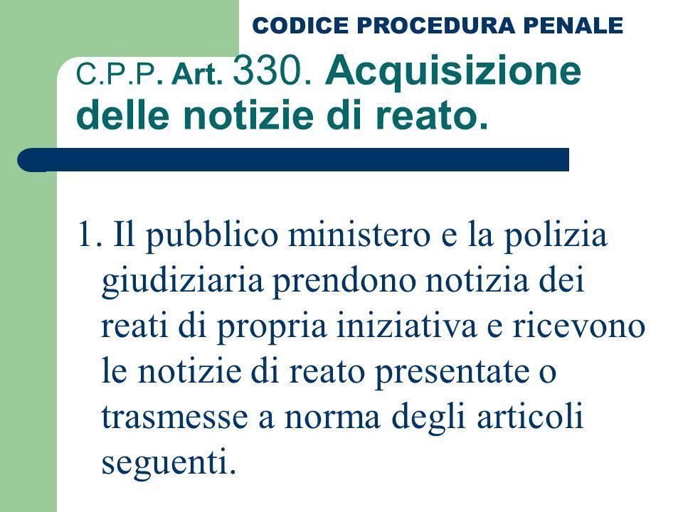 C.P.P. Art. 330. Acquisizione delle notizie di reato.