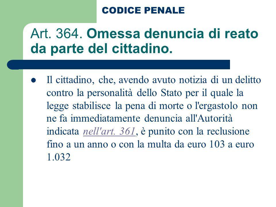 Art. 364. Omessa denuncia di reato da parte del cittadino.