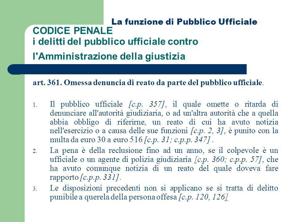 La funzione di Pubblico Ufficiale