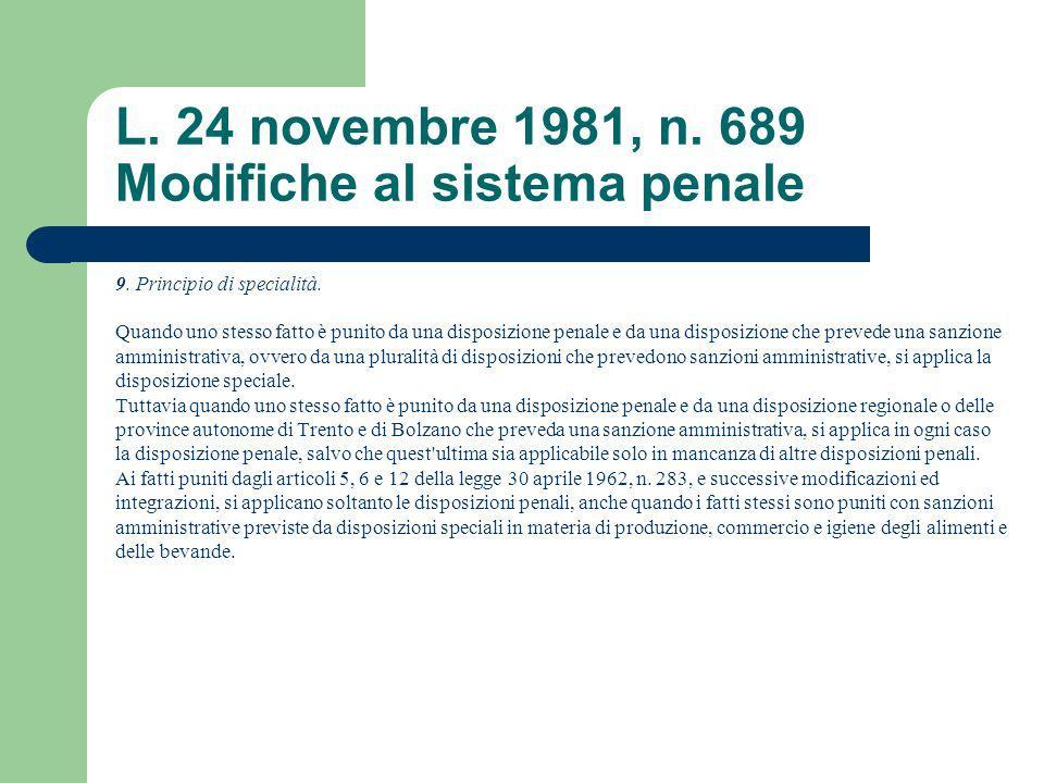 L. 24 novembre 1981, n. 689 Modifiche al sistema penale