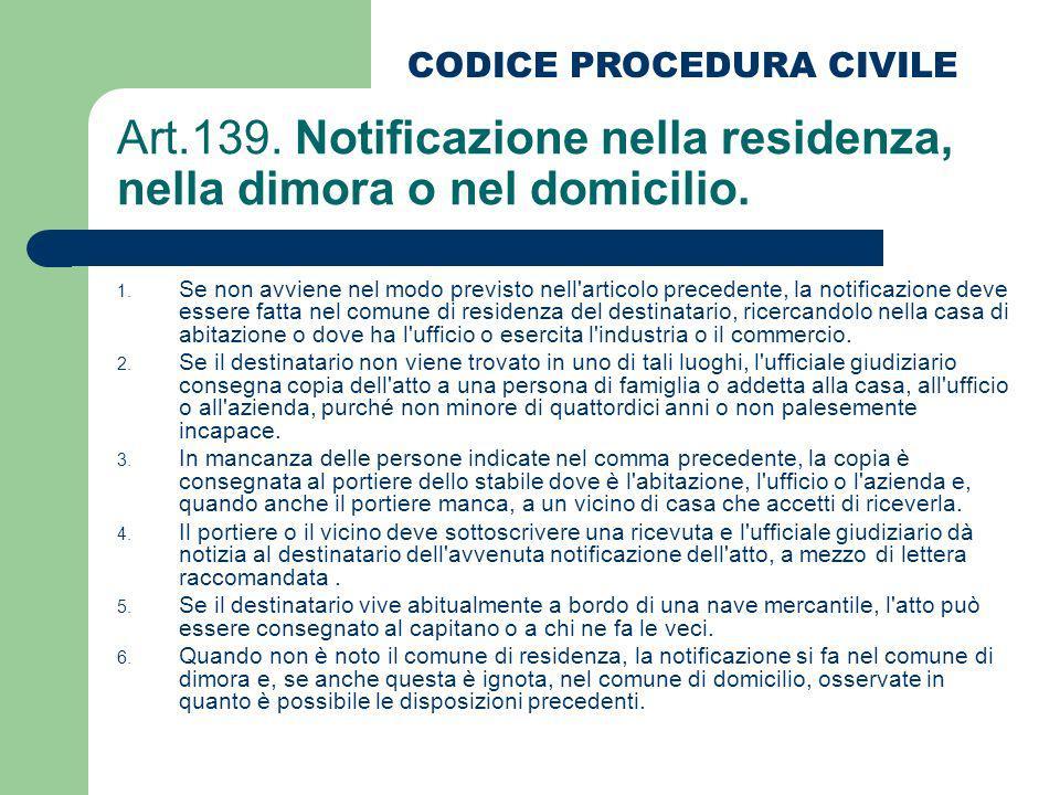 Art.139. Notificazione nella residenza, nella dimora o nel domicilio.