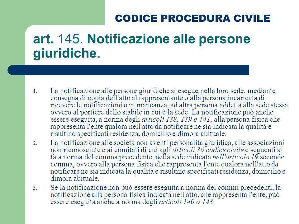 art. 145. Notificazione alle persone giuridiche.