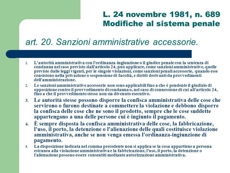 art. 20. Sanzioni amministrative accessorie.